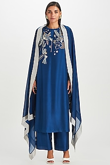 Indigo Blue Kantha Embroidered Kurta Set by Divyam Mehta