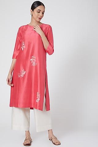 Coral Pink Embroidered Kurta by Divyam Mehta