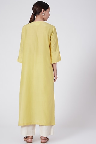 Yellow Floral Embroidered Tunic by Divyam Mehta