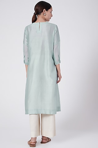 Sky Blue Floral Embroidered Tunic by Divyam Mehta