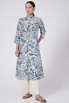 Sky Blue Printed Tunic With Side Pockets by Divyam Mehta