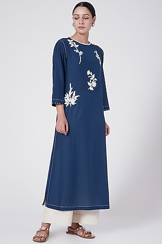 Cobalt Blue Embroidered Tunic by Divyam Mehta