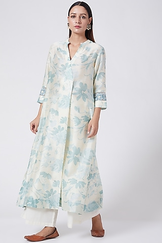 Powder Blue Printed & Embroidered Tunic by Divyam Mehta