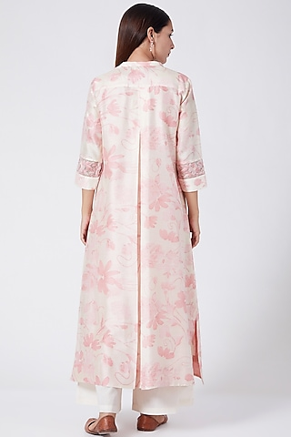 Flamingo Pink Printed & Embroidered Tunic by Divyam Mehta