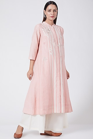 Flamingo Pink Floral Printed & Embroidered Tunic by Divyam Mehta