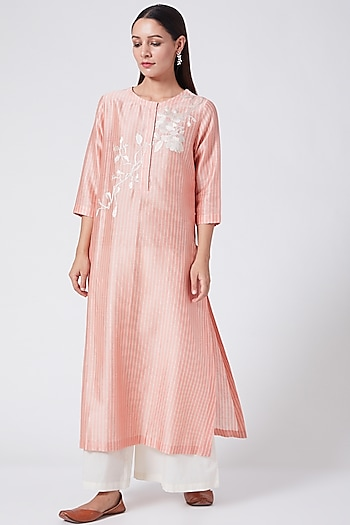 Flamingo Pink Floral Embroidered Tunic by Divyam Mehta