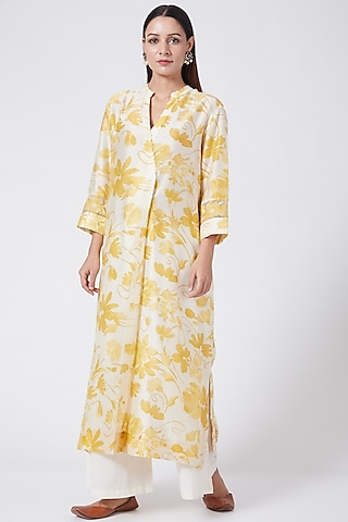 Nimbu Yellow Printed & Embroidered Tunic by Divyam Mehta