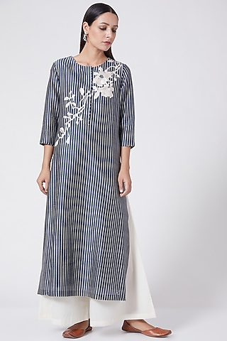 Indigo Blue Floral Embroidered Tunic by Divyam Mehta
