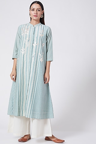 Powder Blue Floral Embroidered Tunic by Divyam Mehta