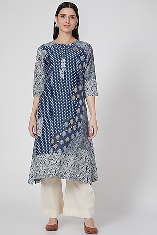 Indigo Embroidered & Printed Button Down Tunic by Divyam Mehta