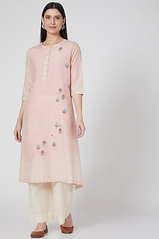Flamingo Pink Embroidered & Printed Button Down Tunic by Divyam Mehta