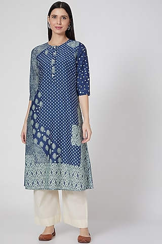 Indigo Blue Printed Button Down Tunic by Divyam Mehta
