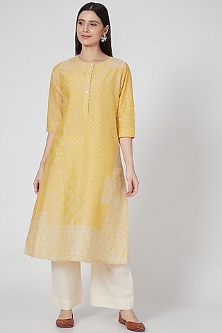 Nimbu Yellow Printed Button Down Tunic by Divyam Mehta