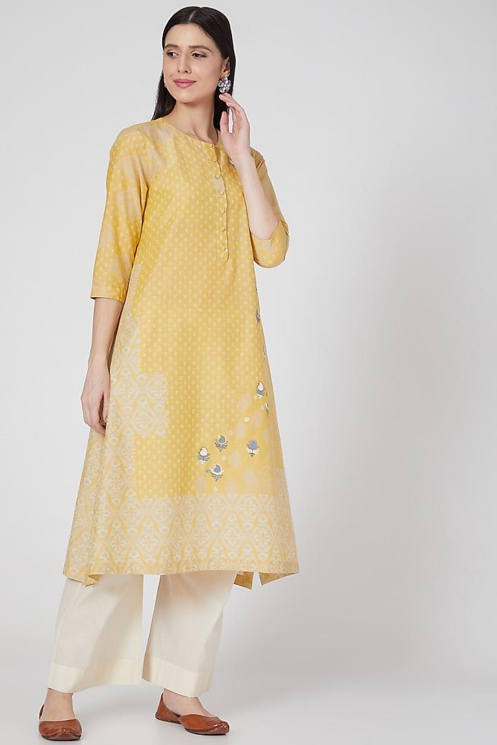 Nimbu Yellow Embroidered Button Down Tunic by Divyam Mehta