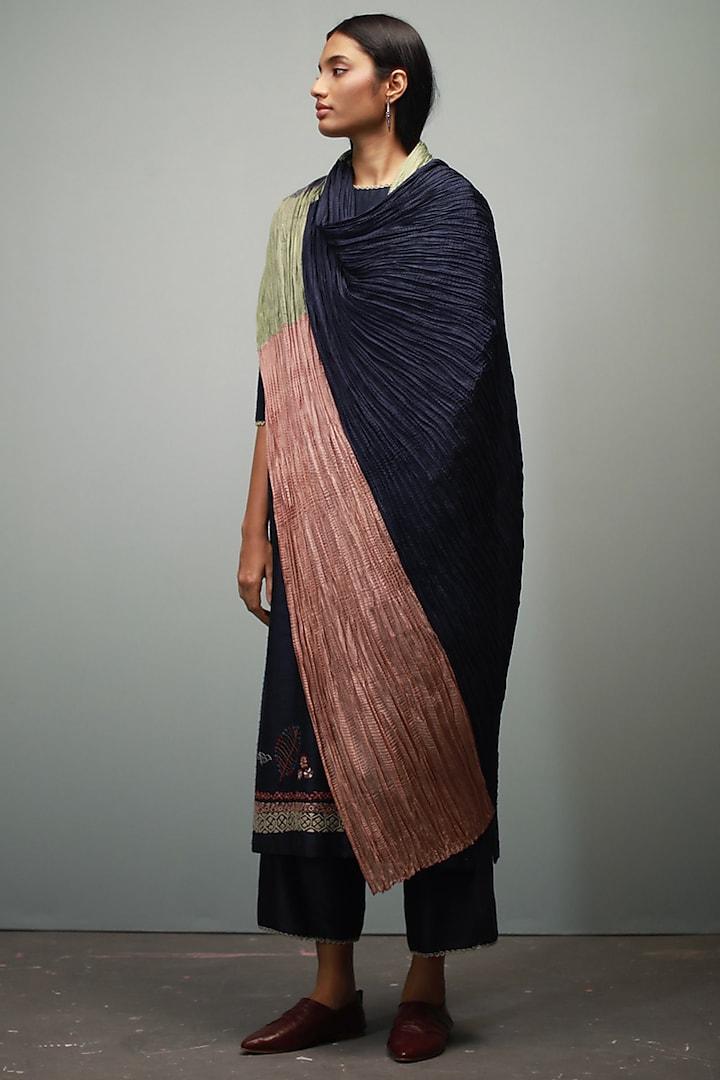 Dark Indigo Hand Embroidered Kurta Set by Divyam Mehta