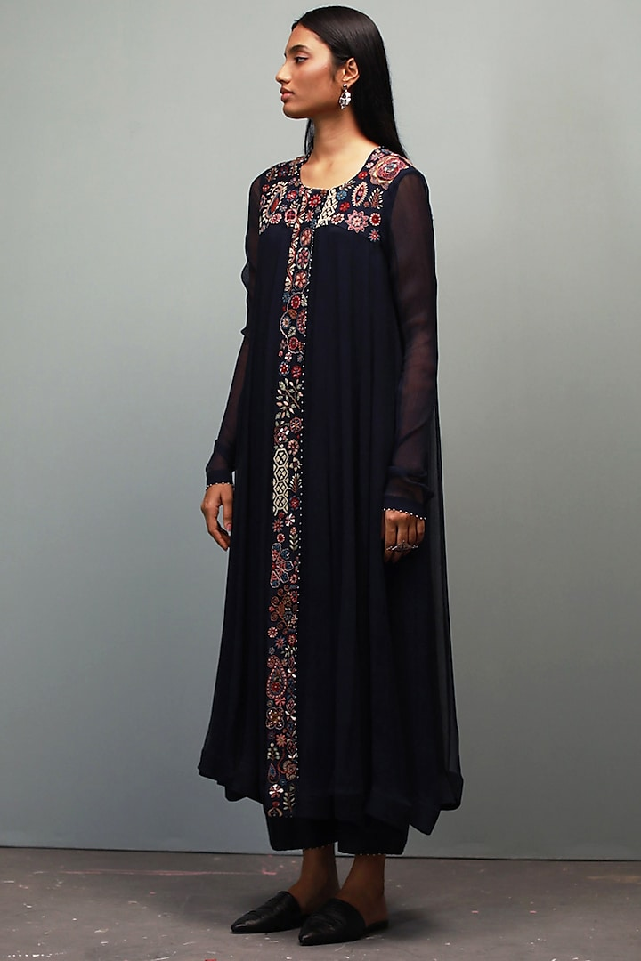 Dark Indigo Kantha Hand Embroidered Anarkali Set by Divyam Mehta