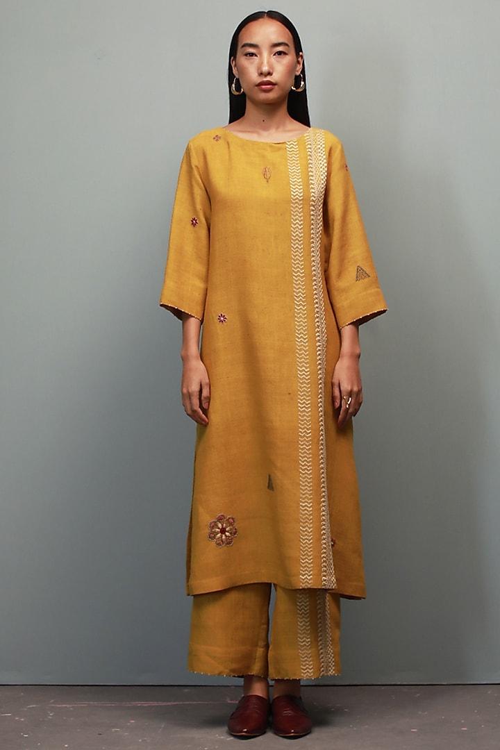 Sarson Yellow Kantha Hand Embroidered Kurta Set by Divyam Mehta