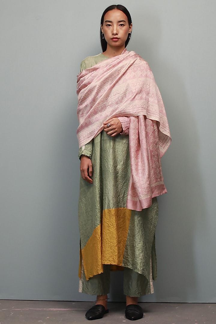 Saunf Green Kurta Set With Kantha Hand Embroidery by Divyam Mehta