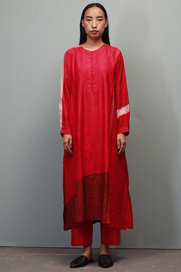 Red Kantha Hand Embroidered Kurta Set by Divyam Mehta