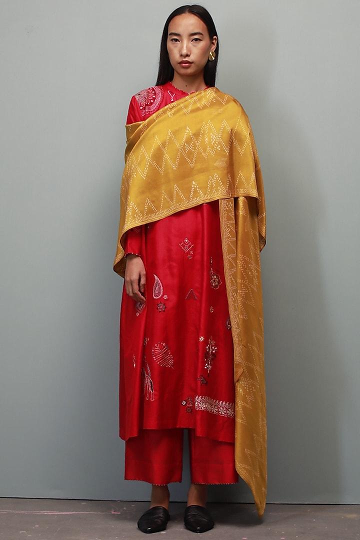 Poppy Red Hand Embroidered Kurta Set by Divyam Mehta