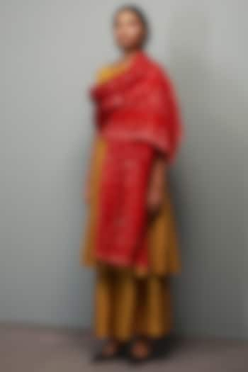 Sarson Yellow Kantha Hand Embroidered Anarkali Set by Divyam Mehta