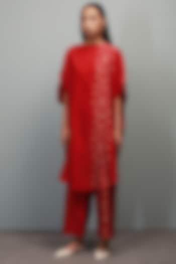 Poppy Red Block Printed Co-Ord Set by Divyam Mehta