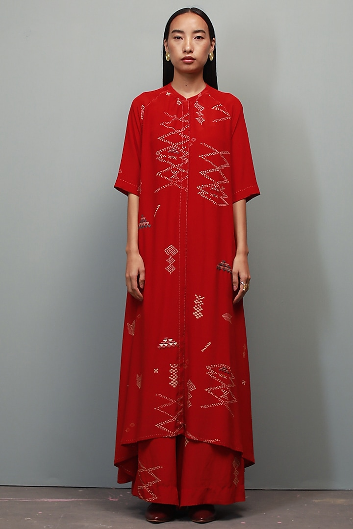Poppy Red Printed Co-Ord Set by Divyam Mehta