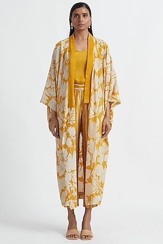 Yellow Floral Printed Cape by Divyam Mehta