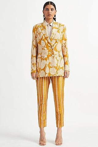 Yellow Floral Printed Jacket by Divyam Mehta