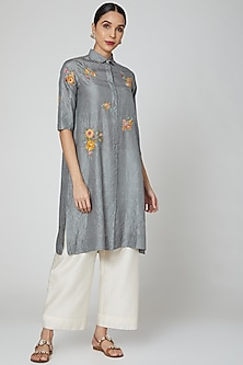 Grey Floral Embroidered Tunic by Divyam Mehta