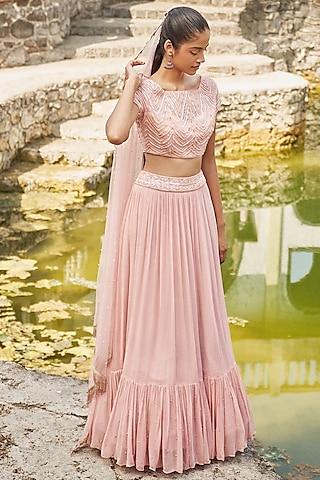 Blush Pink Embroidered Lehenga Set by DISHA MUCHHALA