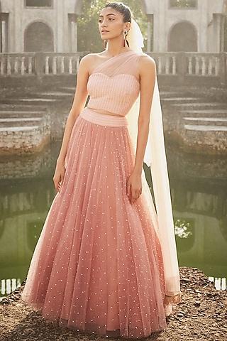 Dark Blush Pink Embroidered Lehenga Set by DISHA MUCHHALA