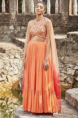 Orange Embroidered Lehenga Set by DISHA MUCHHALA