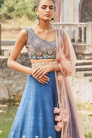 Blue Embroidered Lehenga Set by DISHA MUCHHALA