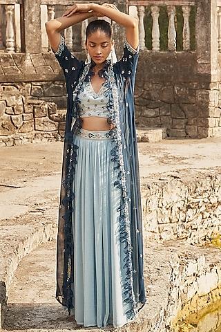 Powder Blue Embroidered Lehenga Set With Cape by DISHA MUCHHALA
