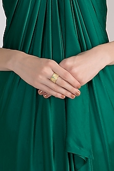 Gold Plated Chrysoprase Ring by Diane Singh