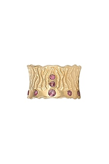 Gold Plated Pink Tourmaline Ring by Diane Singh