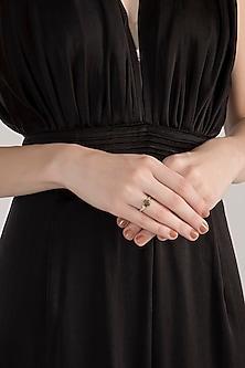 Gold Plated Labradorite & Zircon Ring by Diane Singh