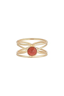 Gold Plated Carnelian Ring by Diane Singh