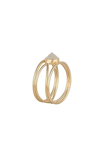 Gold Plated Natural Moonstone Ring by Diane Singh