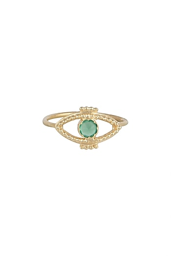 Gold Plated Green Onyx Ring by Diane Singh