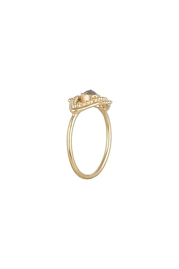 Gold Plated Citrine Stone Ring by Diane Singh