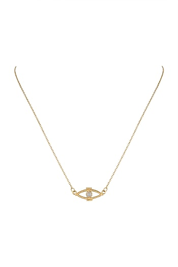 Gold Plated Moonstone Necklace by Diane Singh