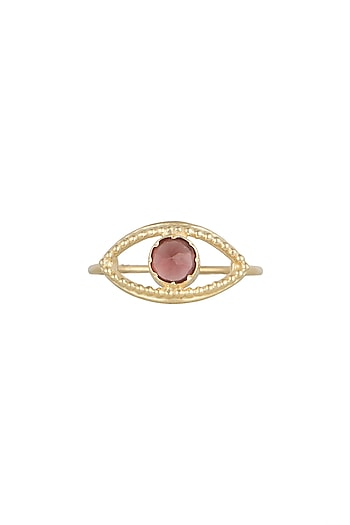 Gold Plated Handcrafted Carnelian Ring by Diane Singh