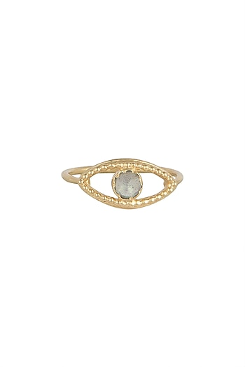 Gold Plated Handcrafted Labradorite Ring by Diane Singh