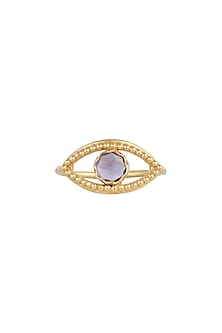 Gold Plated Amethyst Stone Ring by Diane Singh