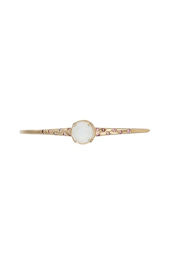 Gold Plated Moonstone & Pink Tourmaline Bangle by Diane Singh