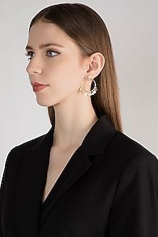Gold Plated Handcrafted Hoop Earrings by Diane Singh