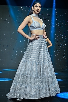 Arctic Ice Blue Embroidered Lehenga With Broach by Disha Patil-DISHA PATIL