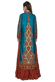 Wine Crushed Anarkali With Firoza Embroidered Jacket by Diva'ni
